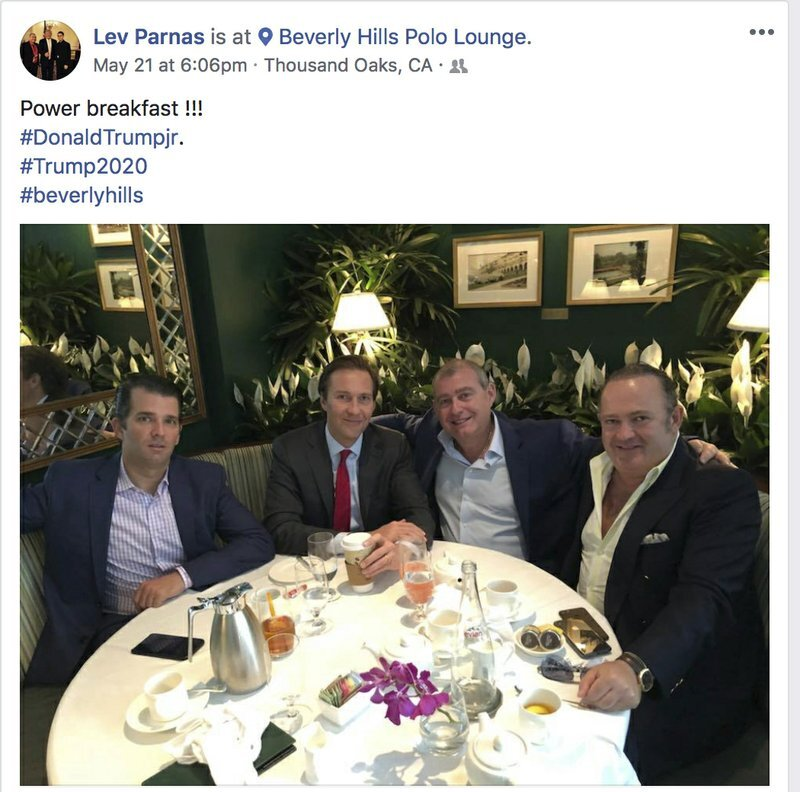 """Far-left """" AP News """" shared a screenshot of a May 21 Facebook post by Ukrainian Lev Parnas with Igor Fruman and Don Jr having a """"Power breakfast"""" in Beverly Hills / Thousand Oaks with the hashtag #Trump2020. Parnas and Fruman were just arrested Wednesday night as they were about to board an international flight in Dulles."""