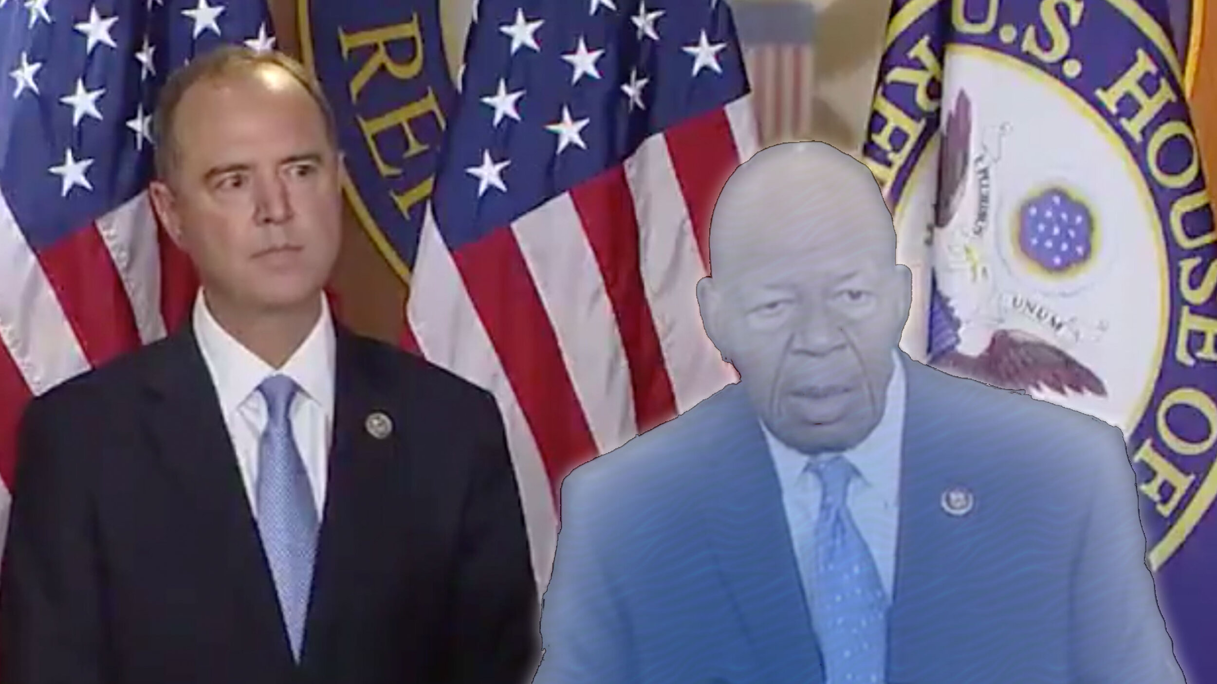 Cropped and edited screenshot of Rep. Elijah Cummings (D-MD) speaking next to Rep. Adam Schiff (D-CA) after the Mueller testimony (video from @RepCummings  Twitter  in July 2019)