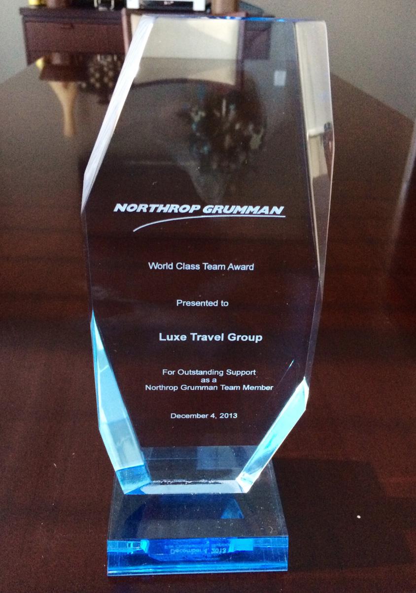 December 2013: LUXE Travel receives Socio-Economic Business Development Recognition Award from Northrop Grumman
