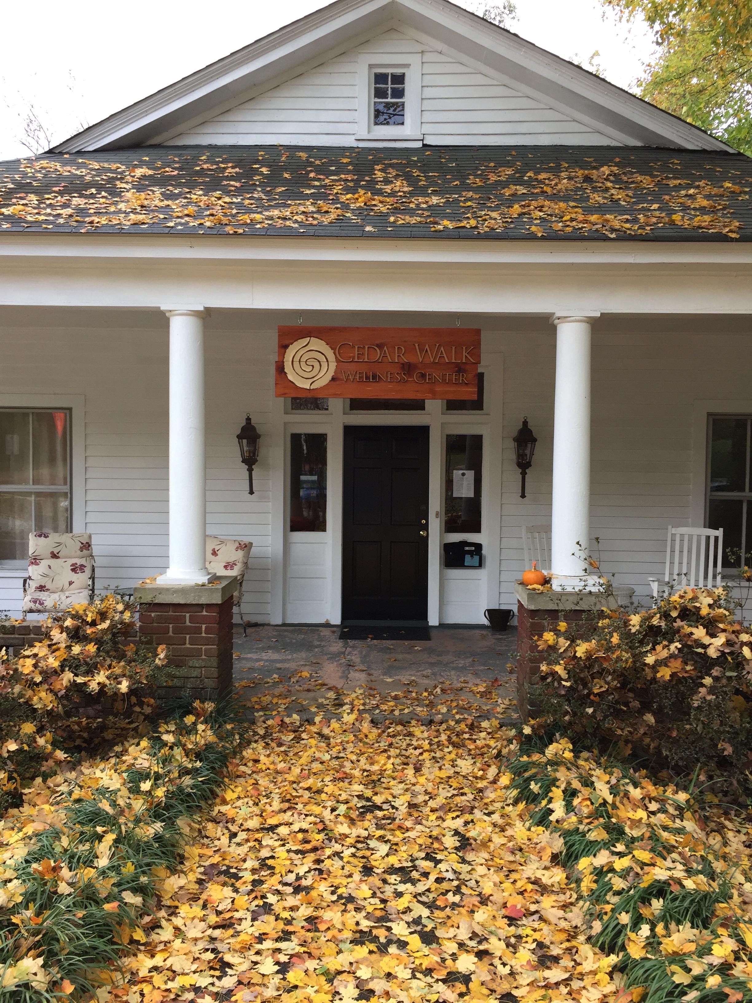 exterior view of cedar walk wellness center in the fall, Hillsborough NC