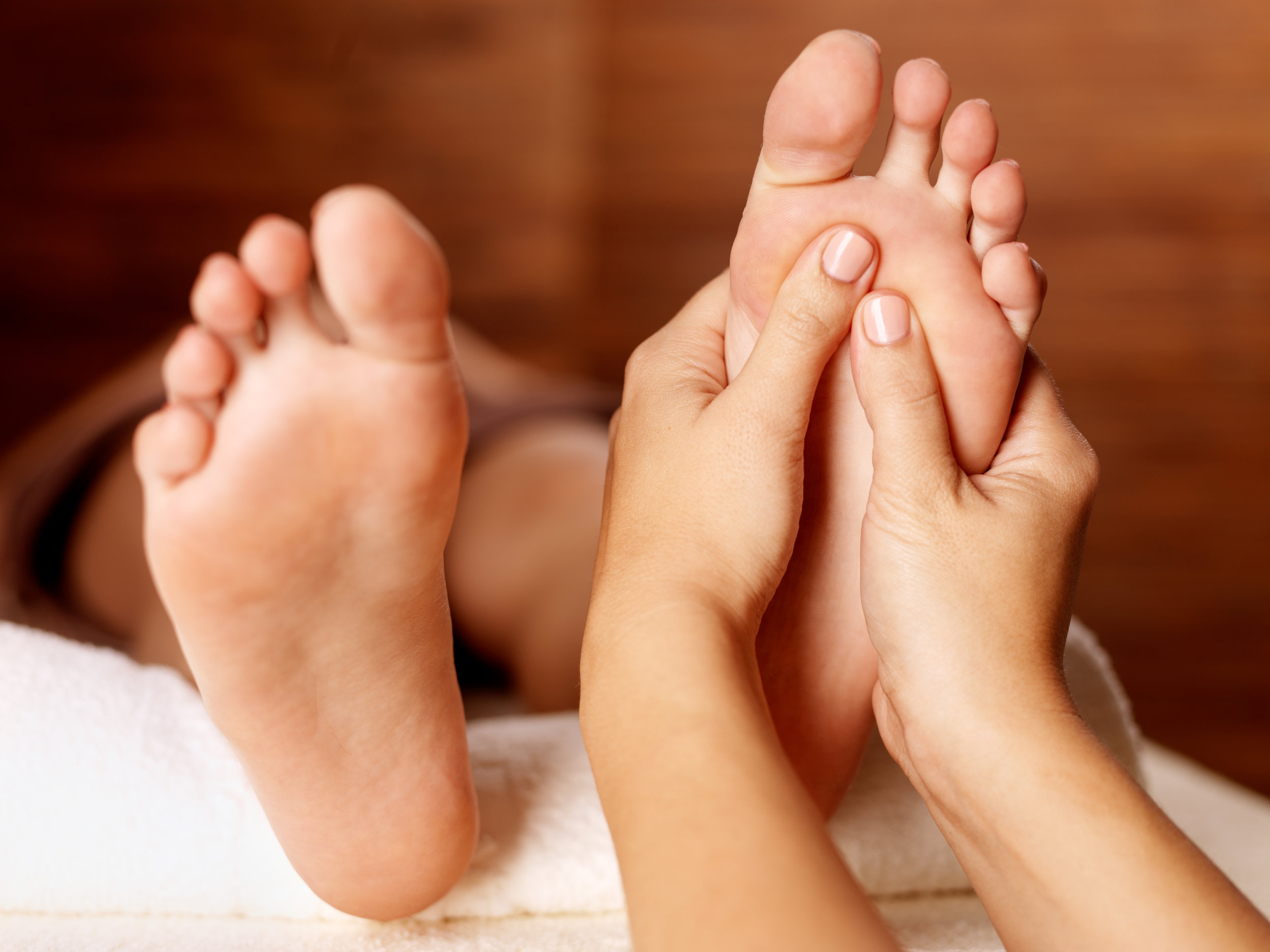 reflexology - Reflexology stimulates specific points (on the feet, hands and ears) that create effects in corresponding organs, glands, bones, muscles and systems of the body. Reflexology is deeply relaxing & detoxifying and produces an incredible healing response in both the body and the mind.