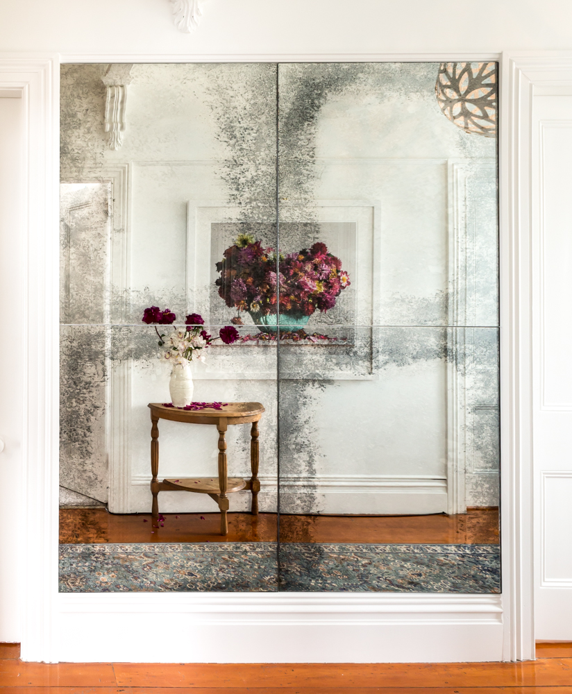 Antique mirrored glass