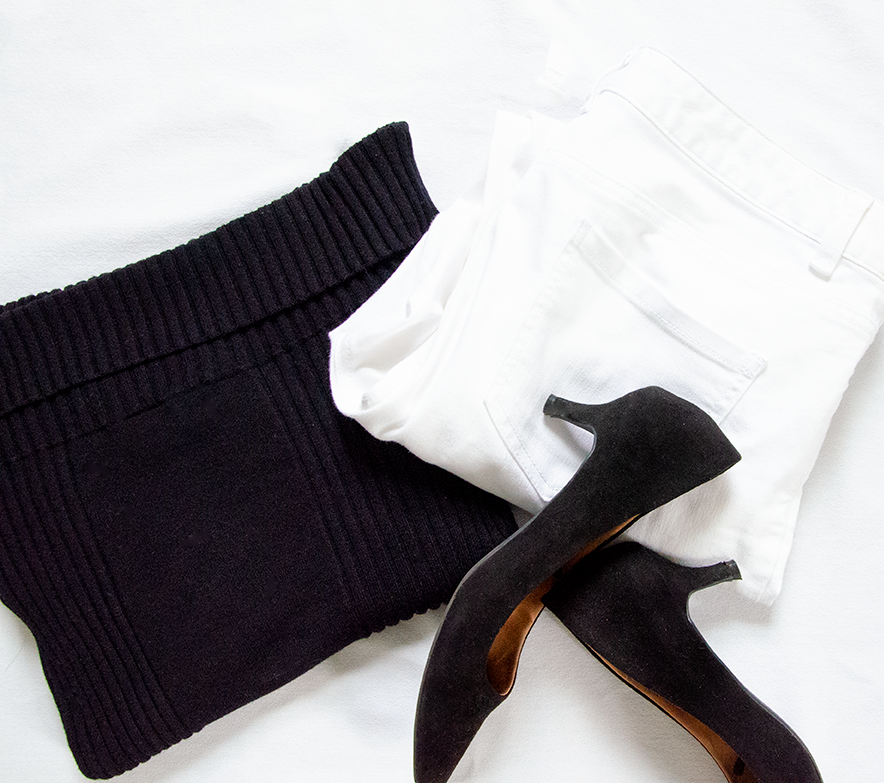 outfit 1 - Black Sweater| White Jeans | Black HeelsTOTAL: 22.97 CAD