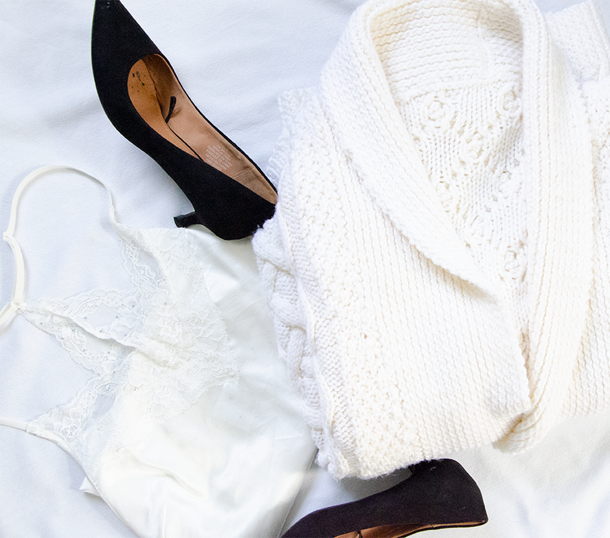 outfit 2 - White Cardigan| White Lace Top| Black HeelsTOTAL: 8.99 CAD