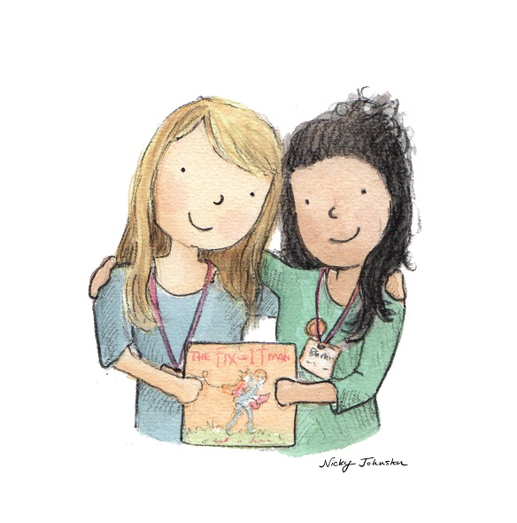 Drawing of Dimity with The Fix-It Man illustrator Nicky Johnston;drawing by Nicky