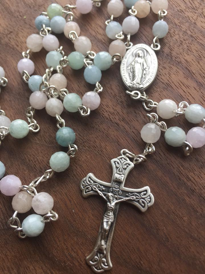 Morganite Solid Sterling Rosary