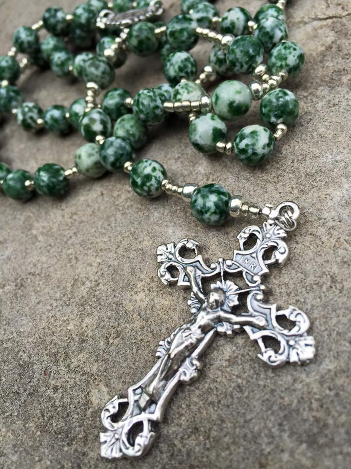 Green Spotted Jasper Rosary