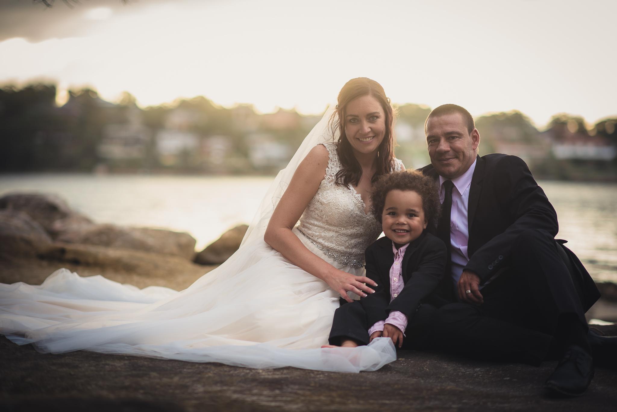 family wedding photo on the beach