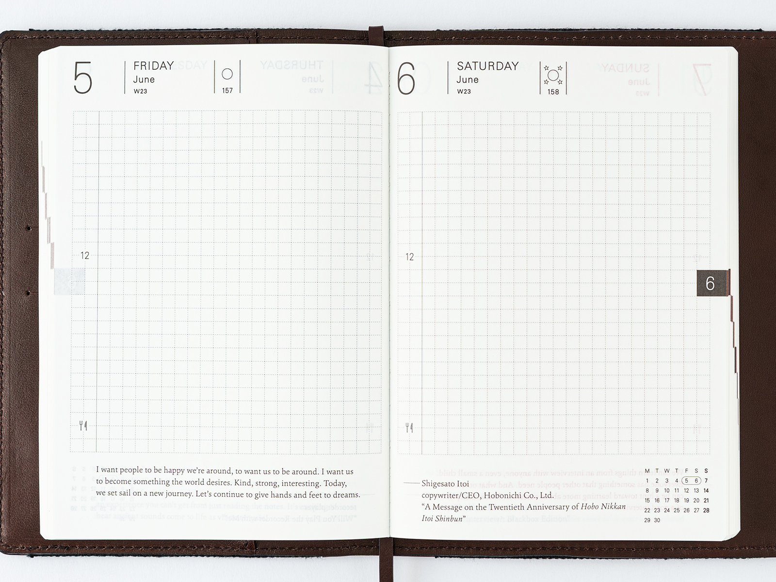 Planner (A6) Daily Page Spread - From Hobonichi Website