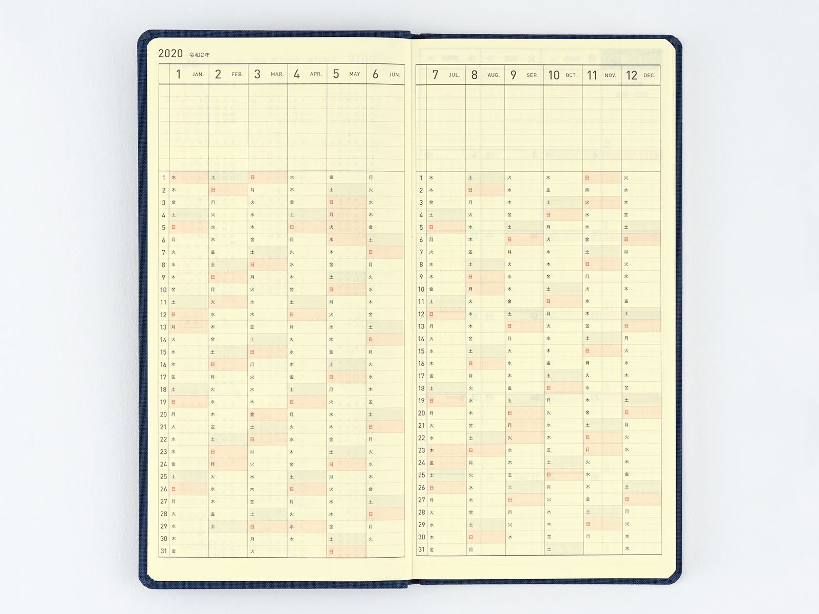 Weeks (3.7 x 7.3 in.) Yearly Index - From Hobonichi Website