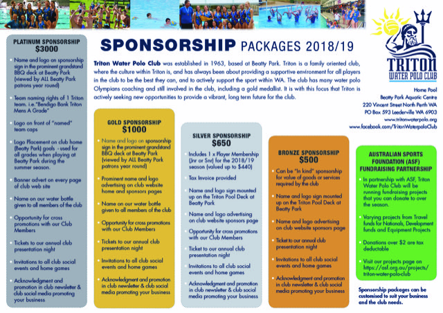 This years Sponsorship Packages for Triton Waterpolo in 2018/19