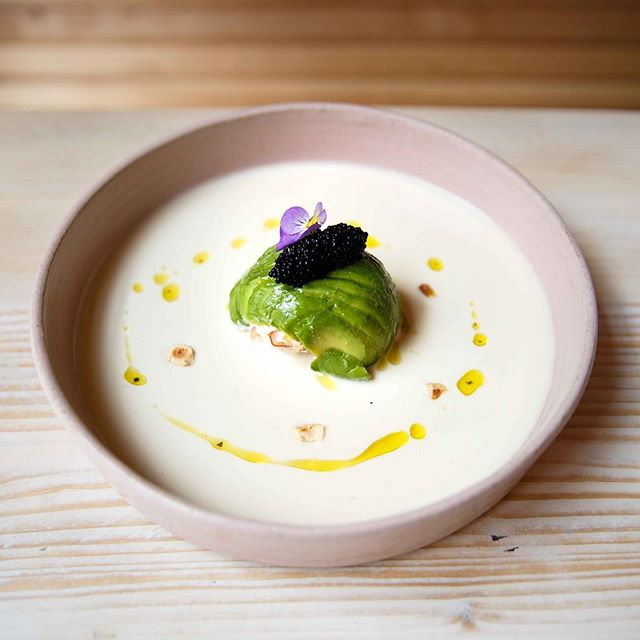 Beautiful. Superfood. 🤩 Lobster encased in avocado with almond hazelnut gazpacho 💫 Our dinner exclusive dish (available from 5pm)! 💚 #Avobar #BeautifulSuperfood #Dinner