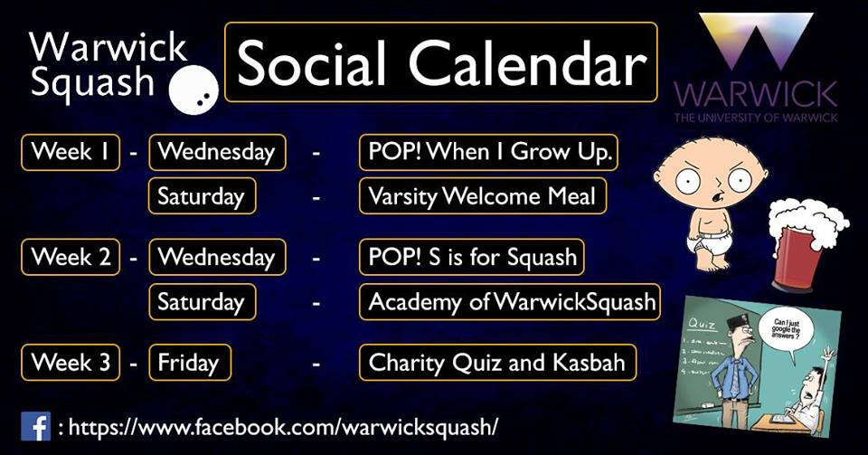 Follow the links below to find these events on Facebook, or see our events page!  WEEK 1 POP:  http://bit.ly/2w3l5Ss  WELCOME MEAL:  http://bit.ly/2x6f6Jk  WEEK 2 POP:  http://bit.ly/2x6TSuW  ACADEMY:  http://bit.ly/2w4zduF  CHARITY QUIZ:  http://bit.ly/2x6U1P0
