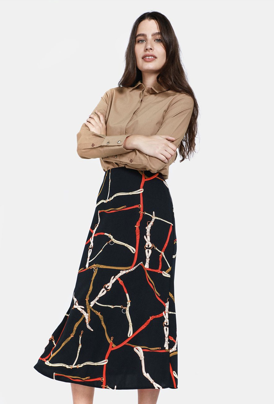 Patterned Midi Skirt    R119.99    Chain print is such a huge thing at the moment; as are slip dresses and slip skirts #90srevival.    This is the perfect inexpensive trend piece.