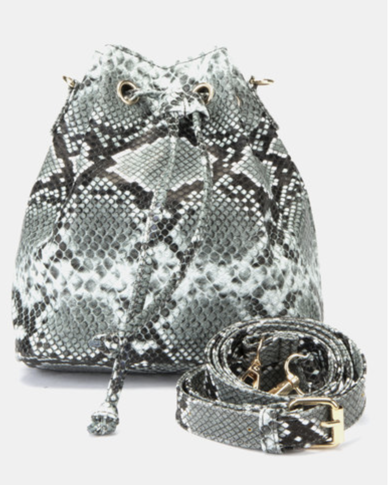 Copy of Copy of NEW LOOK FAUX SNAKE MINI DUFFLE BAG DARK GREY