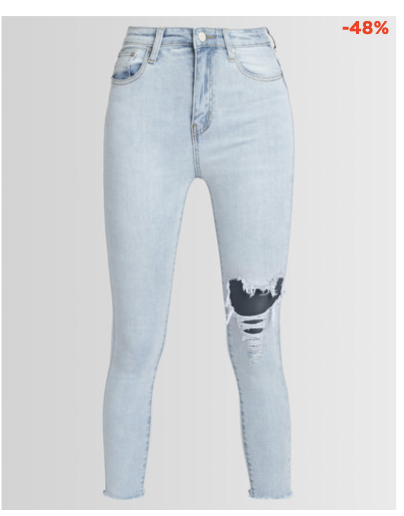 Copy of UNSEEN EDGE RIP & REPAIR SKINNY JEANS LIGHT BLUE