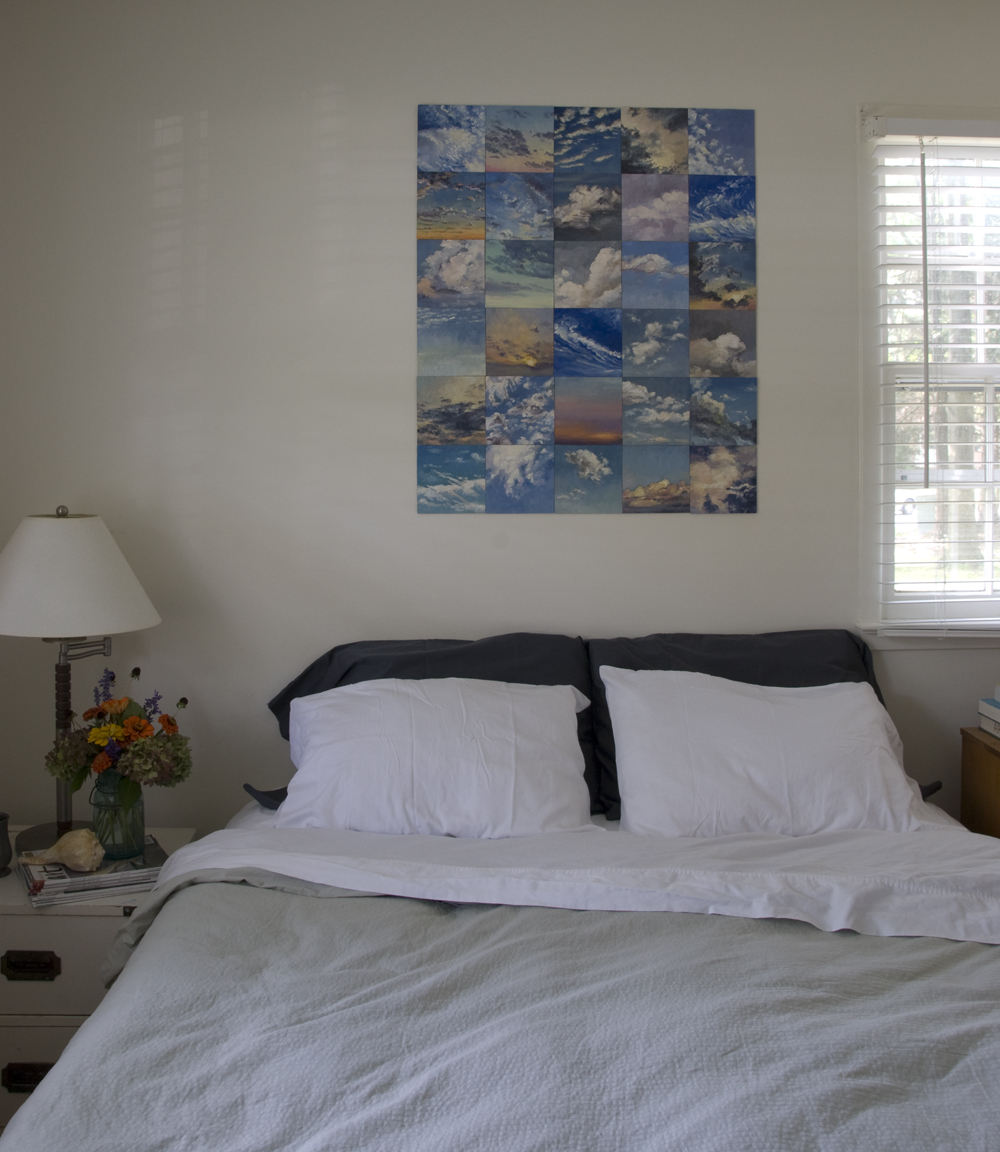 The paintings were hung in a grouping of 30 directly to the wall with archival acid-free tape.