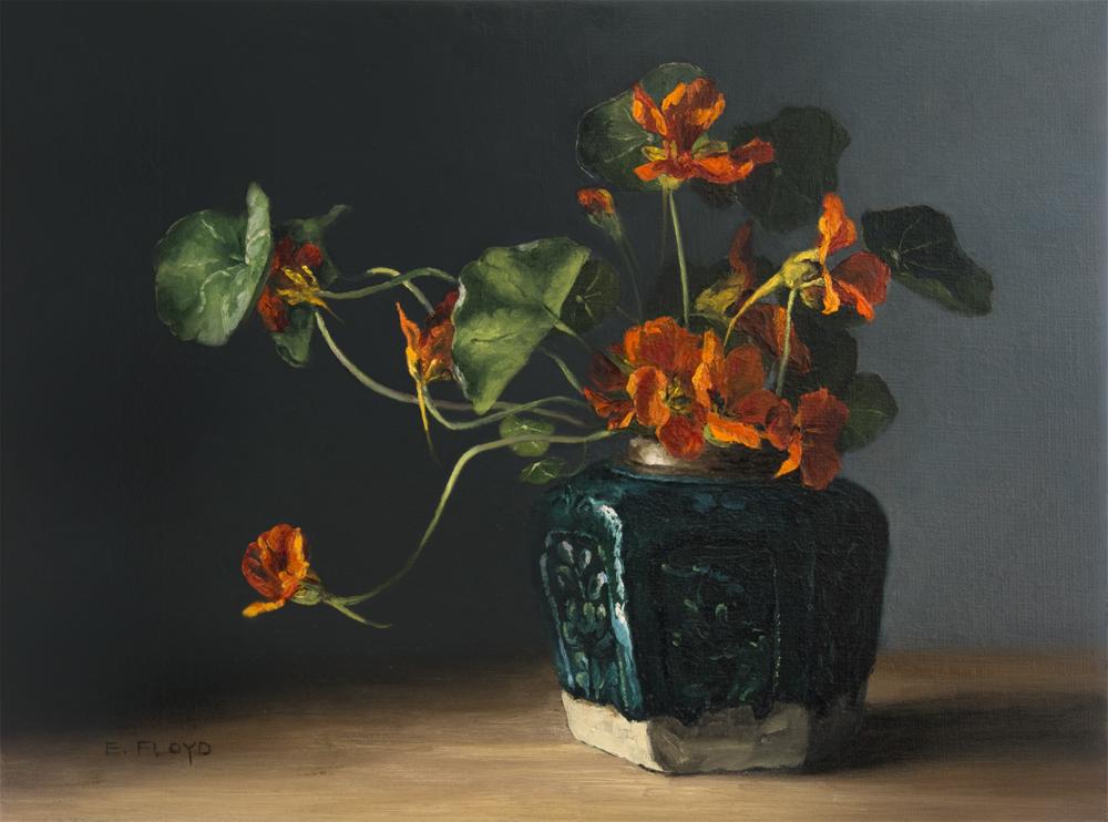 Nasturtiums in a Ginger Jar by Elizabeth Floyd, 12 x 16 inches, oil on linen
