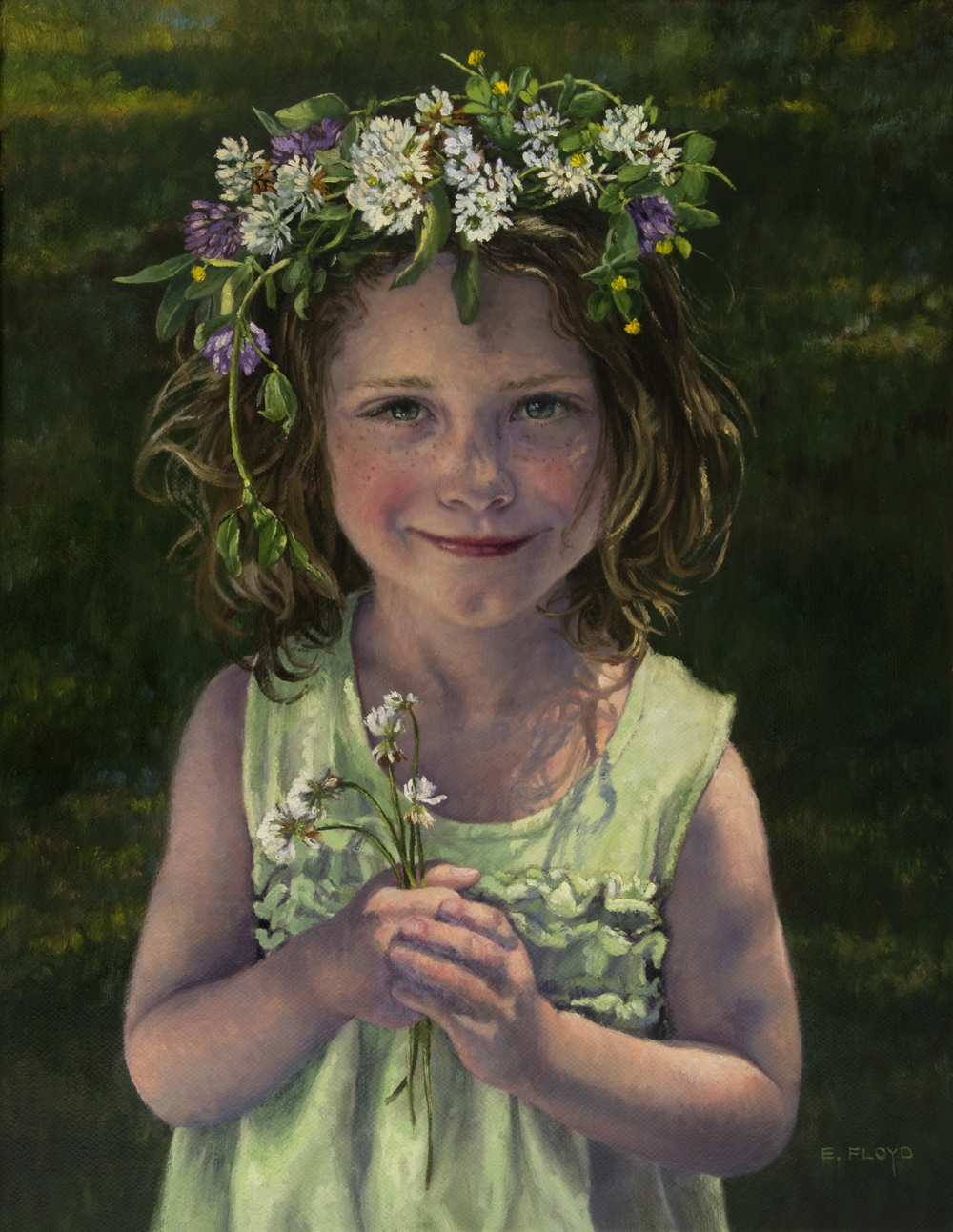 Clover Flower Crown by Elizabeth Floyd, oil on linen, 18 x 14 inches