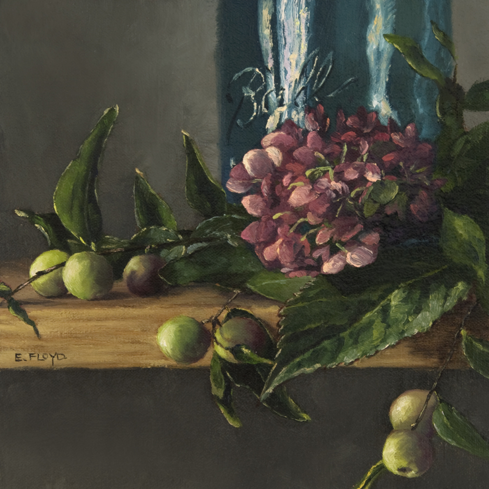 Hydrangeas with Ball Jar and Crabapples, 8 x 8 inches, In a private collection
