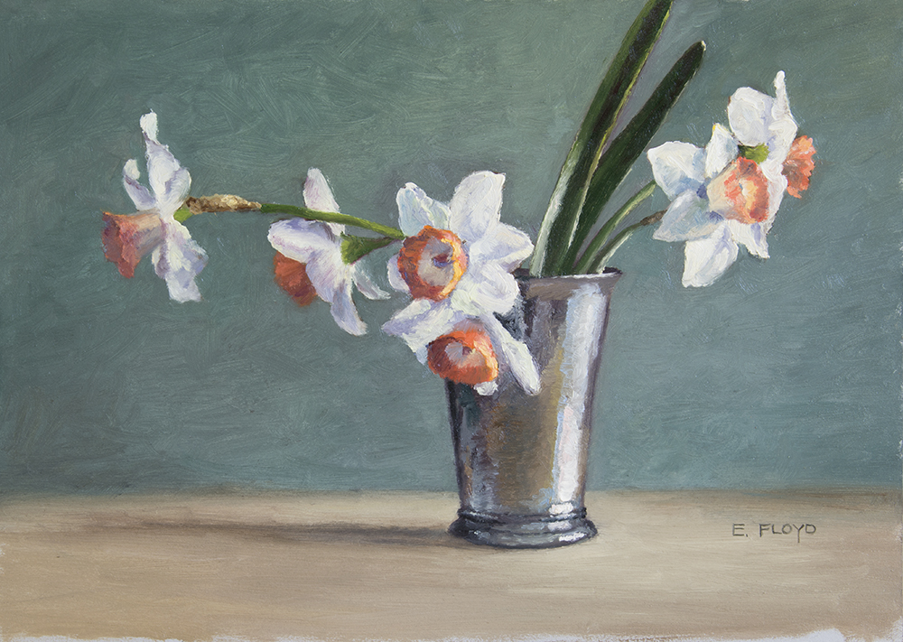 Narcissus Pink Charm, oil, 9 x 14 inches