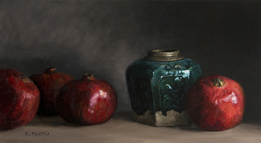 Pomegranates and Ginger Jar, 9 x 16 inches, oil on linen