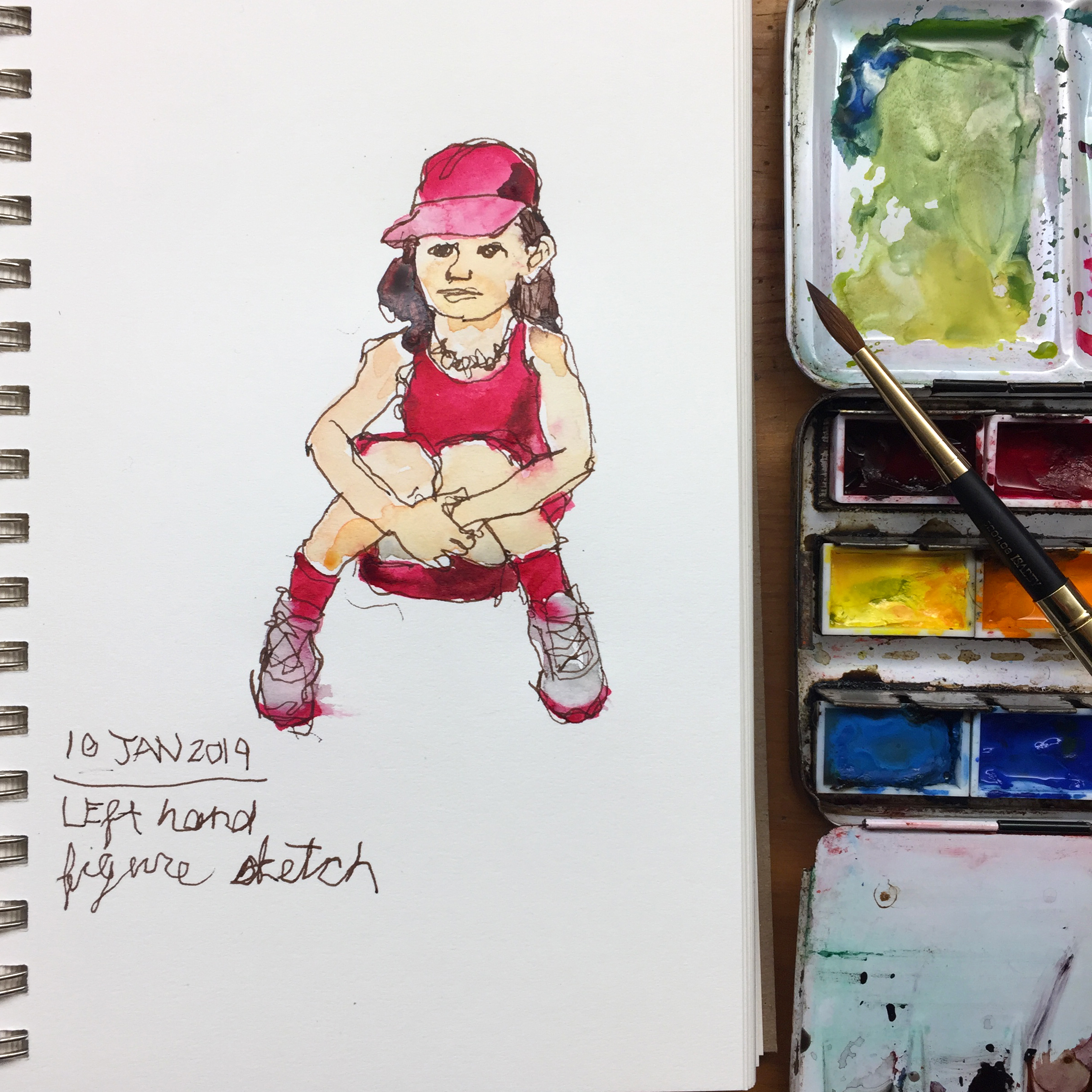 Day 10: Naomi in Pink - left-handed drawing