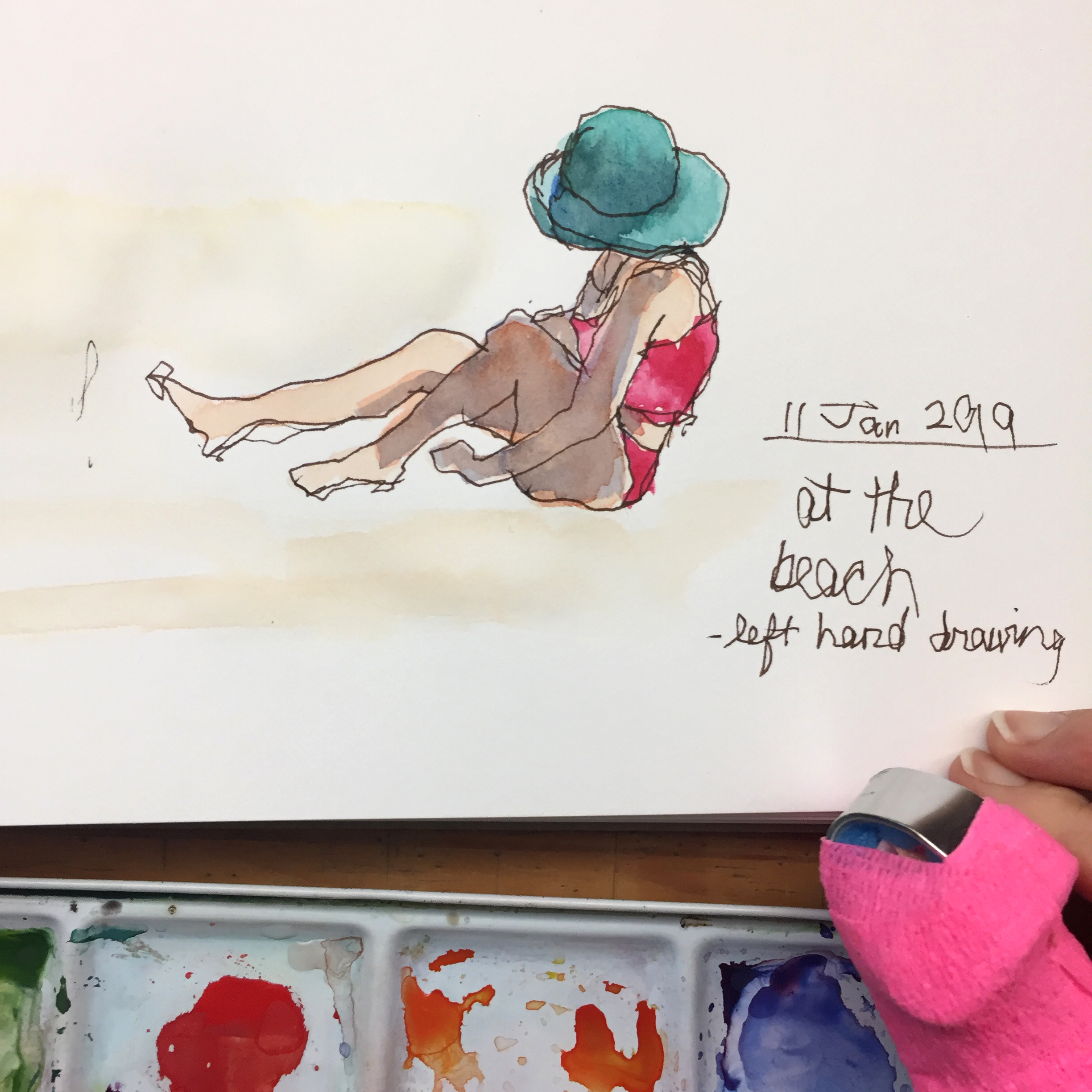 Day 11: Naomi at Bethany Beach - left handed drawing