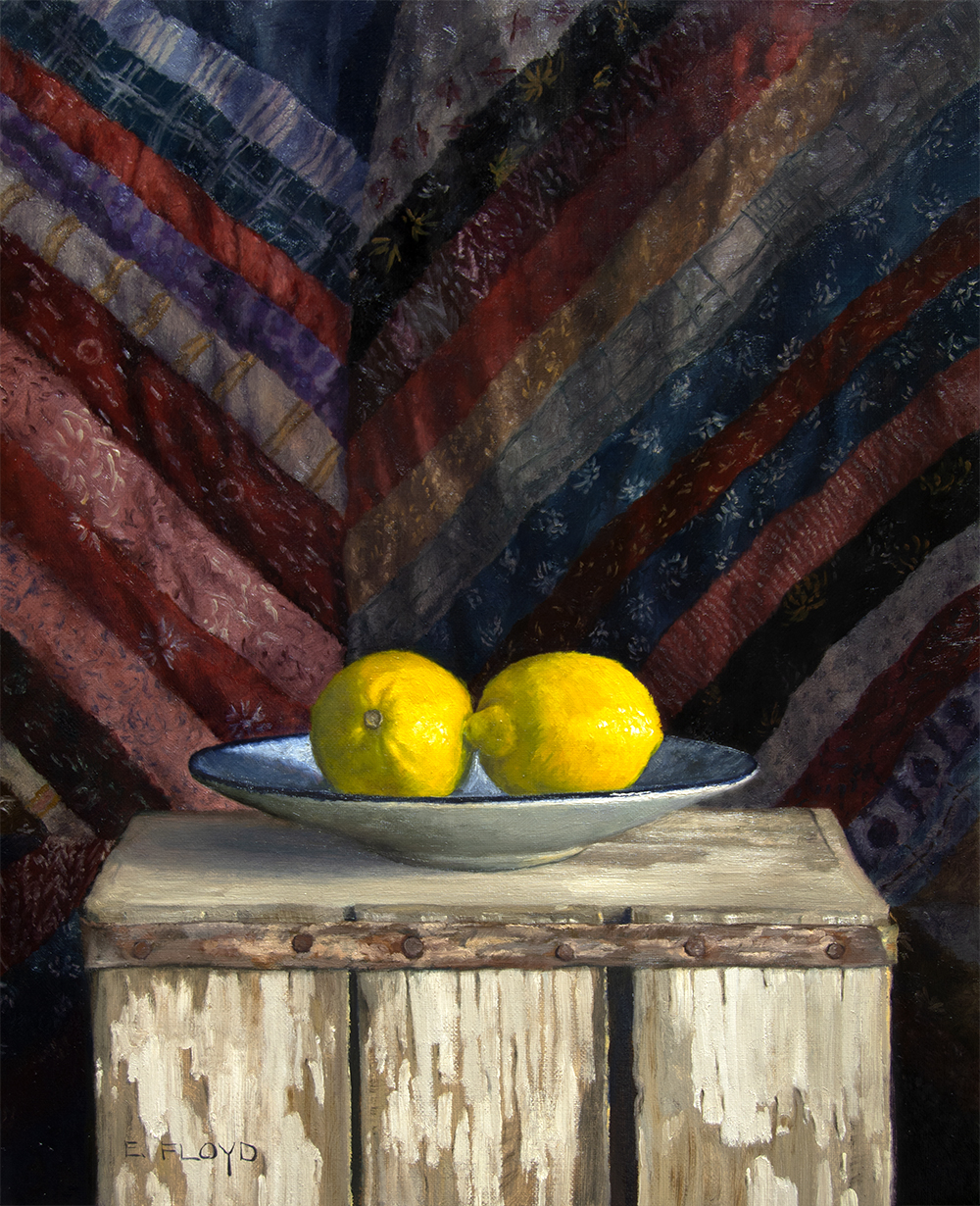 two lemons and vintage quilt oil painting.jpg