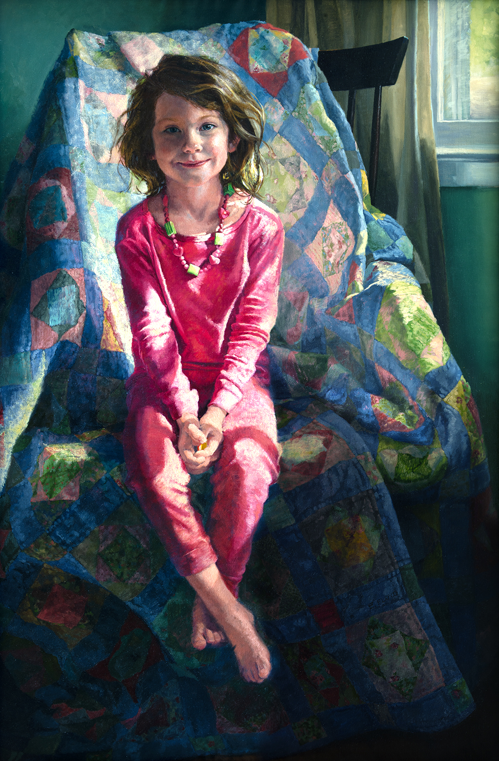 Pink Pajamas, 48 x 32 inches, oil on linen