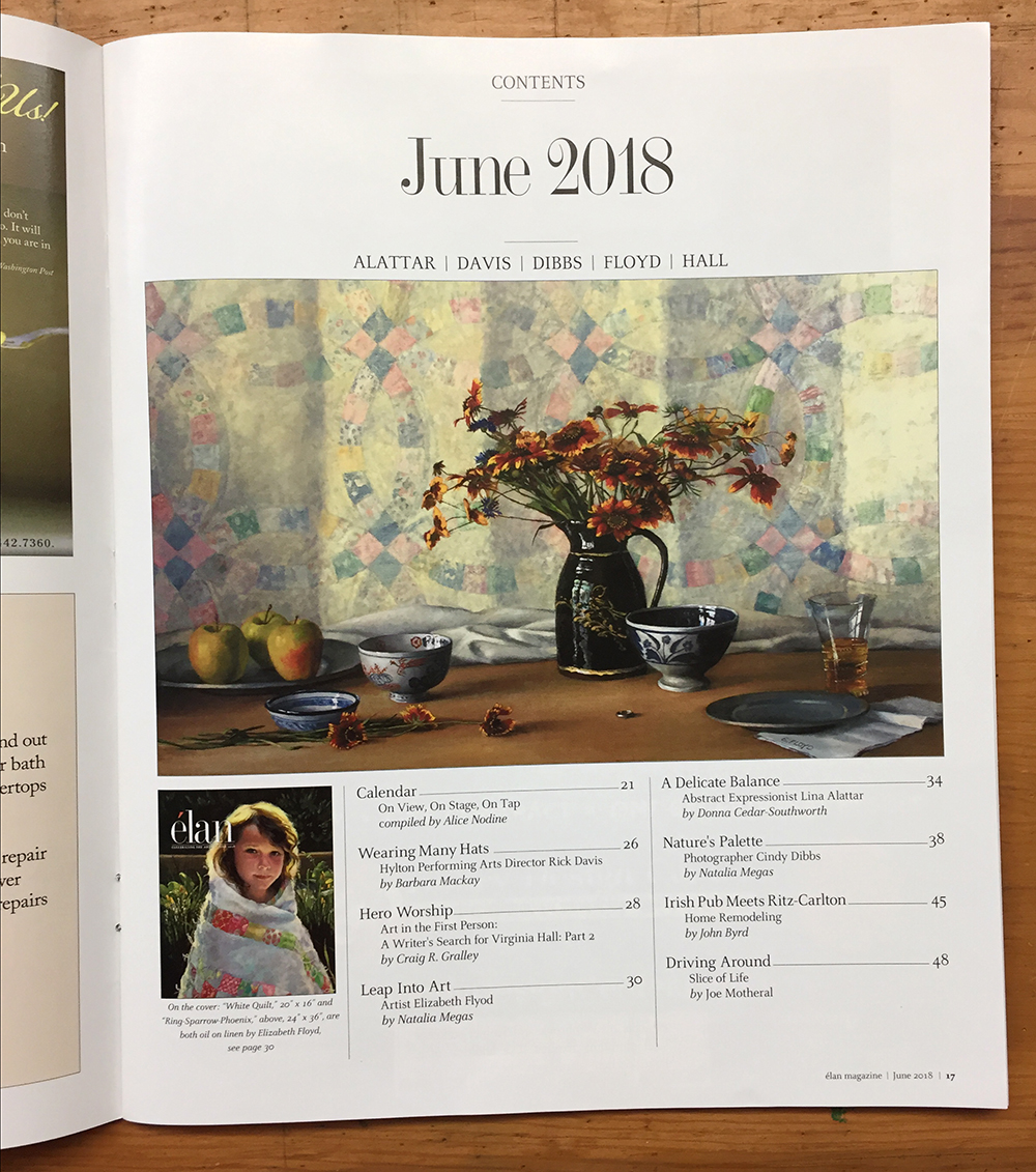 Indian Blanket Flowers with Quilt Still-Life Painting on Table of Contents page of Elan Magazine
