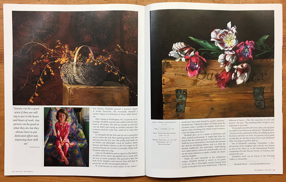 Final two pages of article in Elan Magazine:  oil paintings: Bittersweet, Pink Pajamas, and Rembrandt Tulips