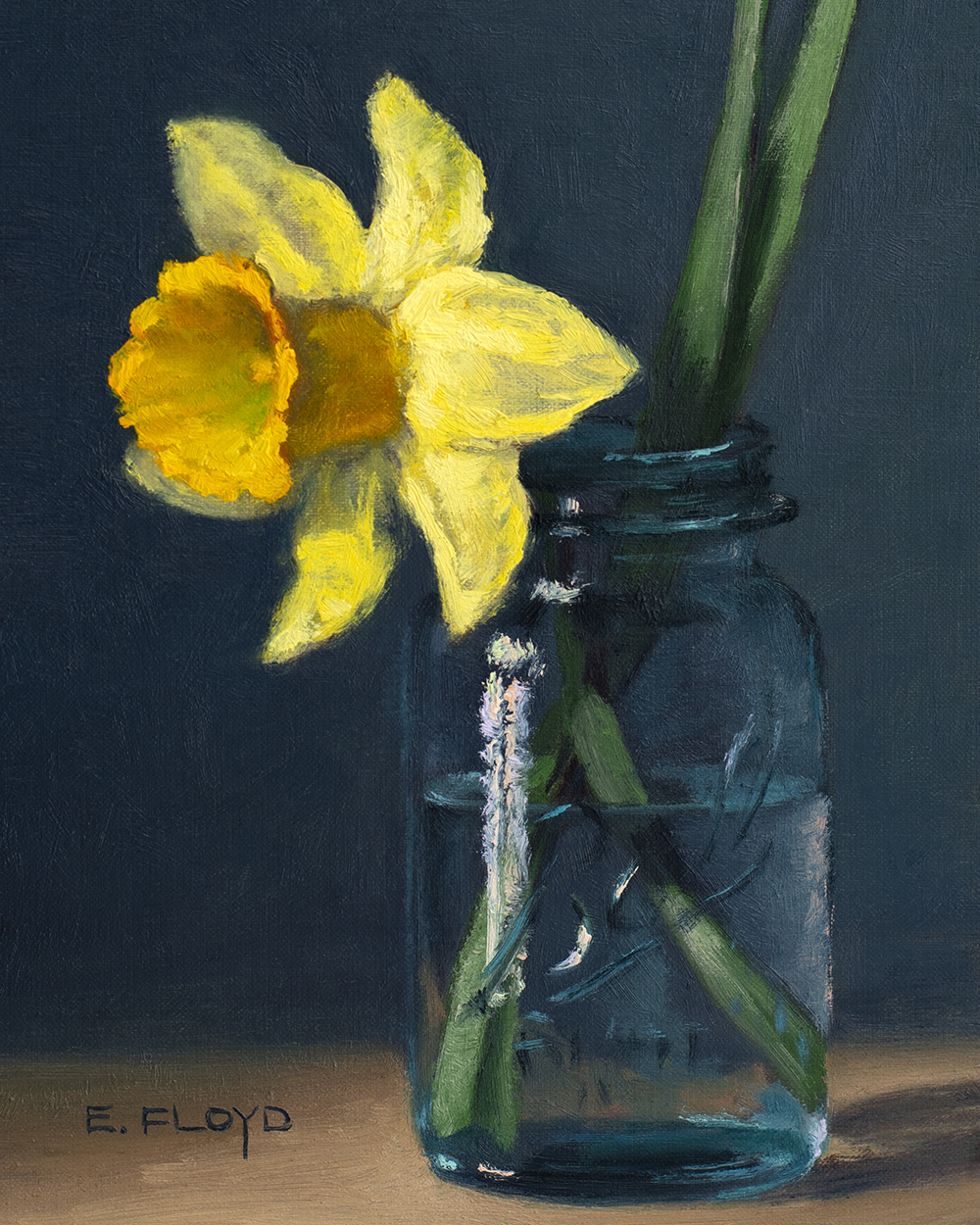 Daffodil in Ball Canning Jar, 8x6 inches, oil on panel, studio painting - framed, AVAILABLE, for more information contact@elizabethfloyd.com