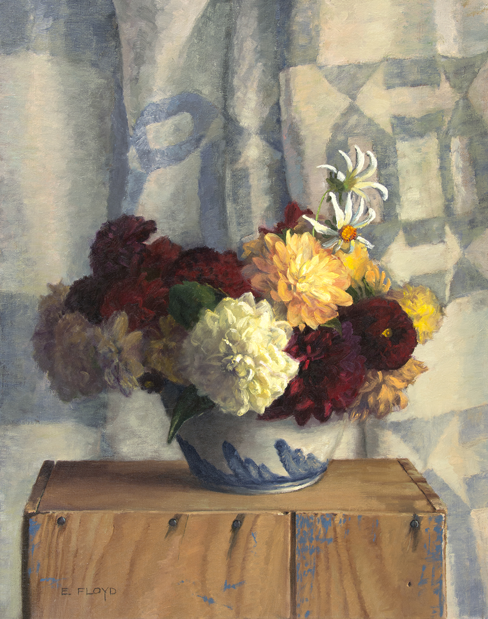 Dahlias in Salt Glaze Bowl, 20x16 inches, oil on linen, studio painting - framed, AVAILABLE, for more information info@principlegallery.com