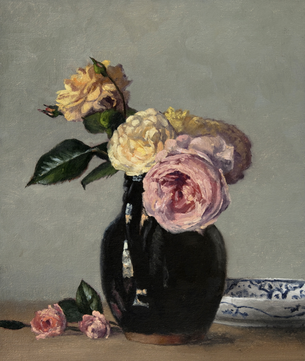 Garden Roses in a Pennsylvanian Redware Pitcher, 12 x 10 inches, oil on linen panel