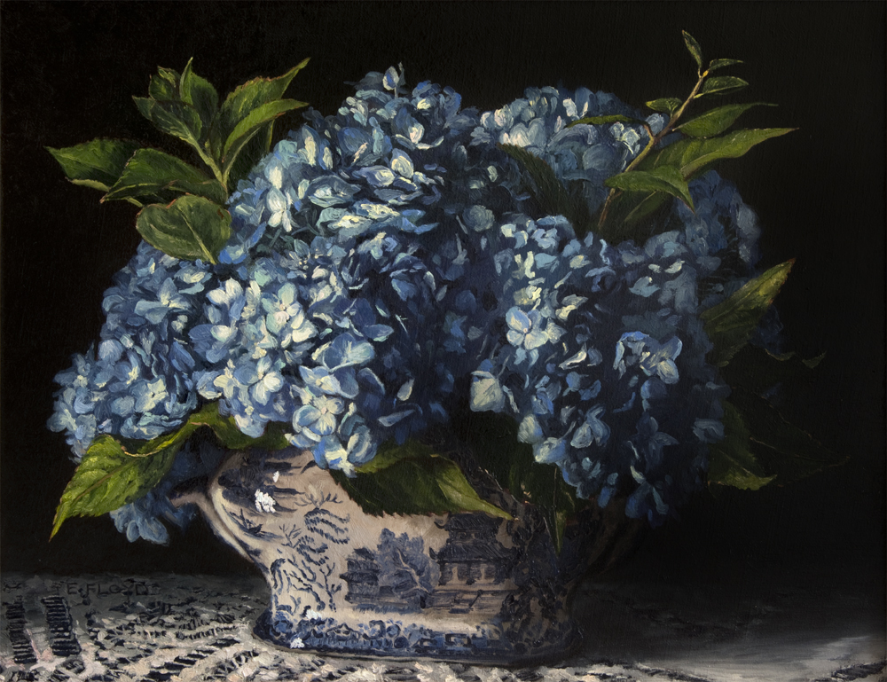 Hydrangeas in Blue Willow, 14 x 18 inches, oil on linen