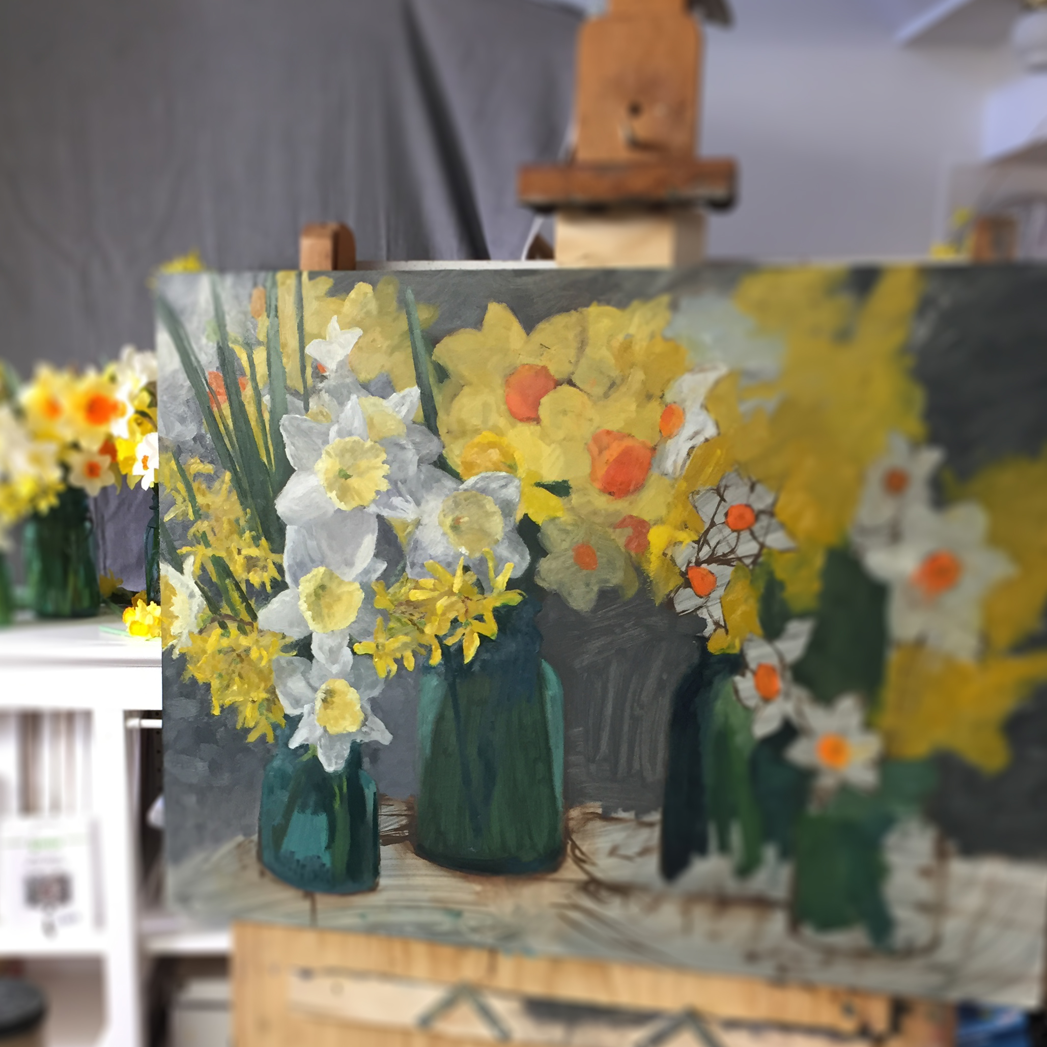 Day 91: A work in progress of an oil painting of daffodils