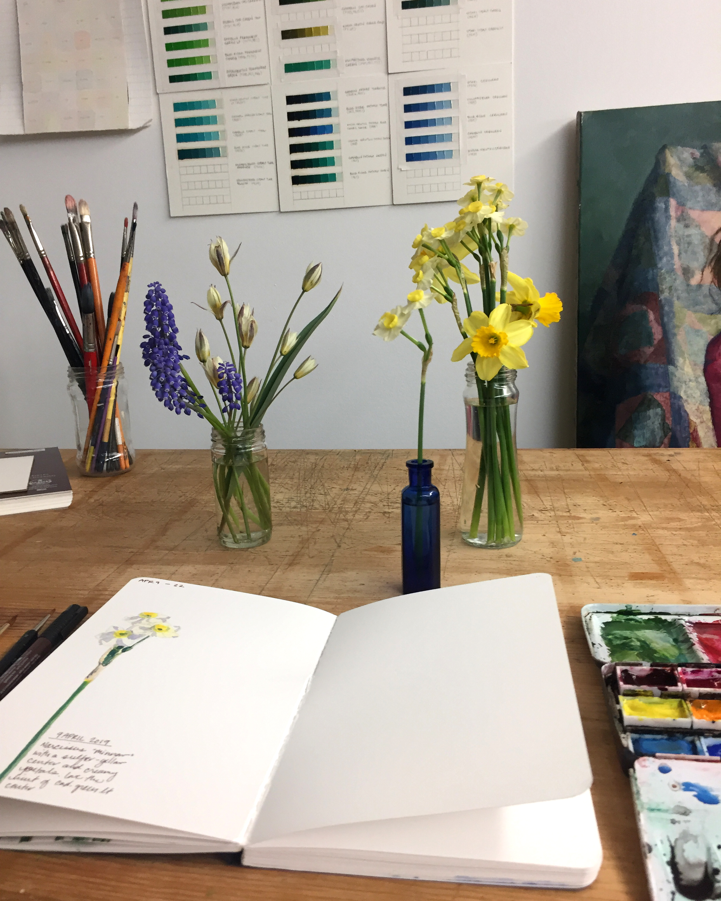 Day 99: a watercolor entry of some dainty daffodils in my studio.