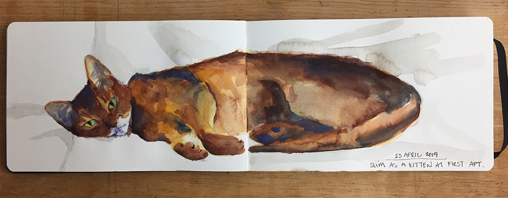 Day 113: Watercolor of our Abyssinian cat, Slim