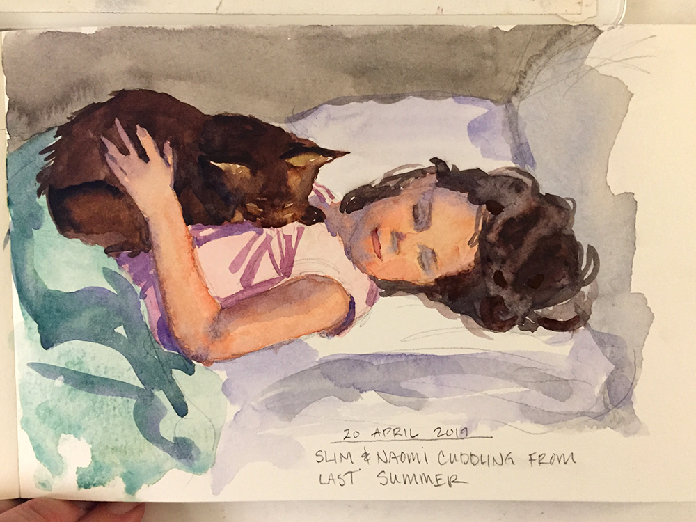 Day 110: Watercolor of Naomi and Slim cuddling in bed