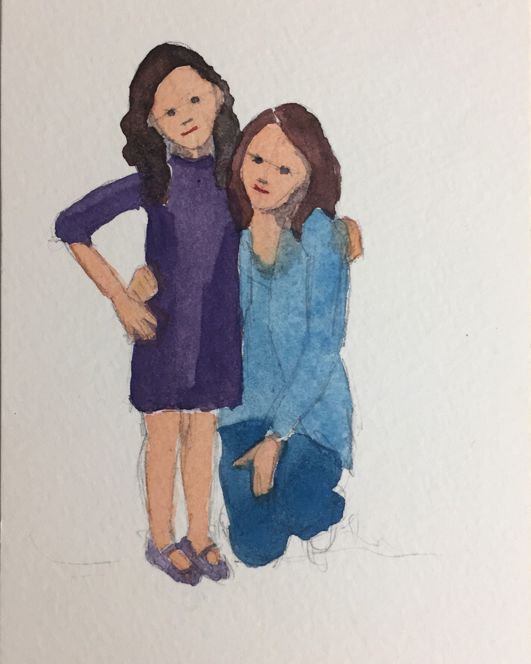 Day 98: A watercolor illustration of Naomi and me. Naomi asked me to dress her in purple, her favorite color and I am in blue, my favorite color to wear when I am not standing behind an easel :)