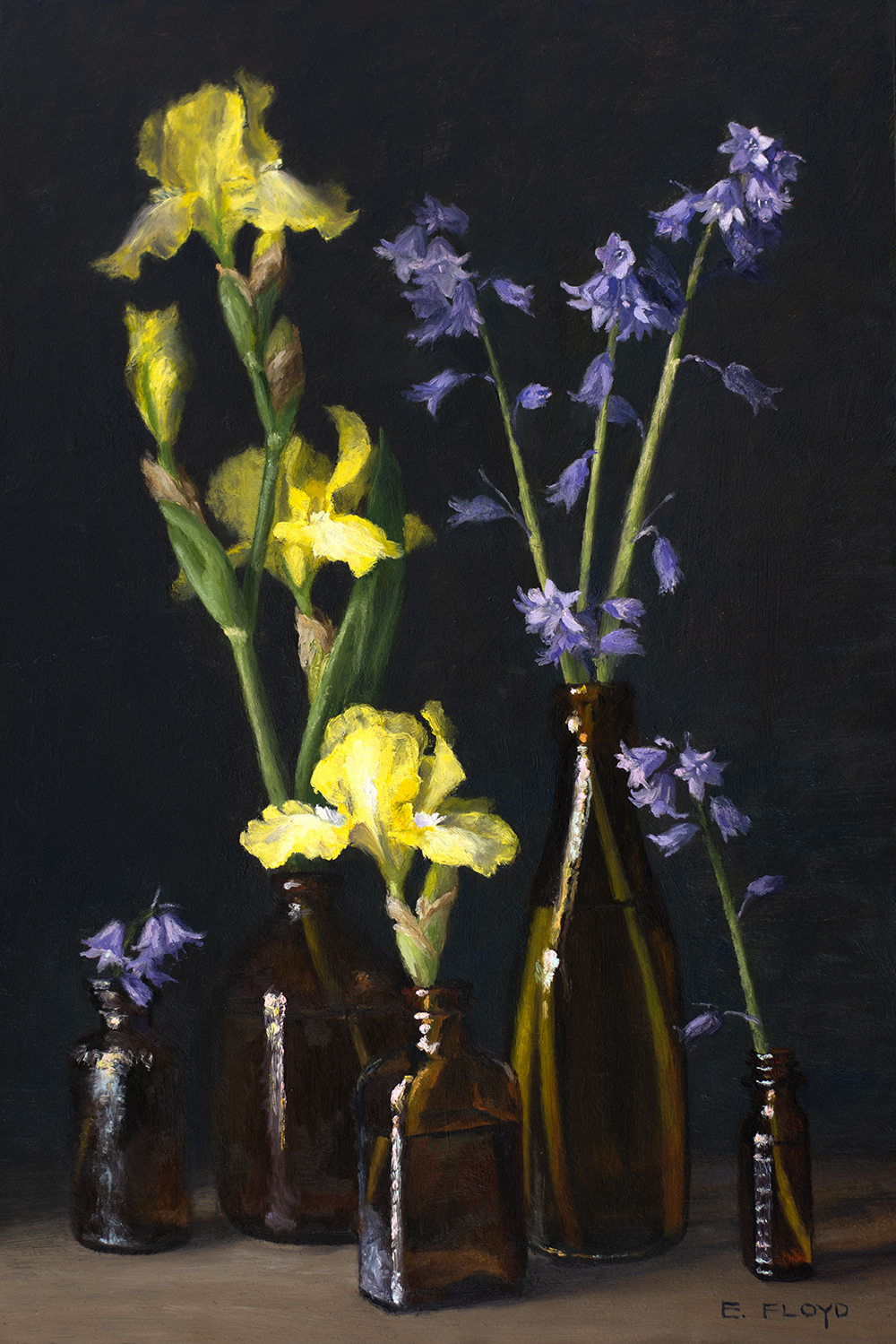"""Day 127: Finished this floral still-life painting of """"Irises and English Bluebells"""", oil on panel, 18x12 inches, AVAILABLE through the Principle Gallery"""