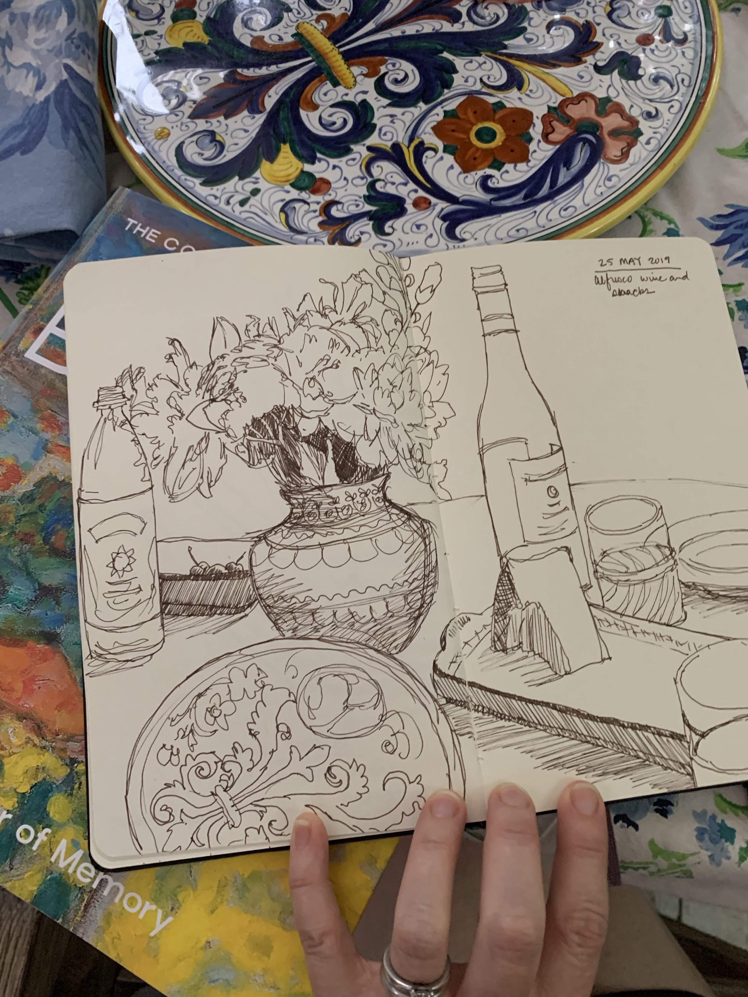Day 145: Sketch al-fresco lunch with at a dear friend's house.