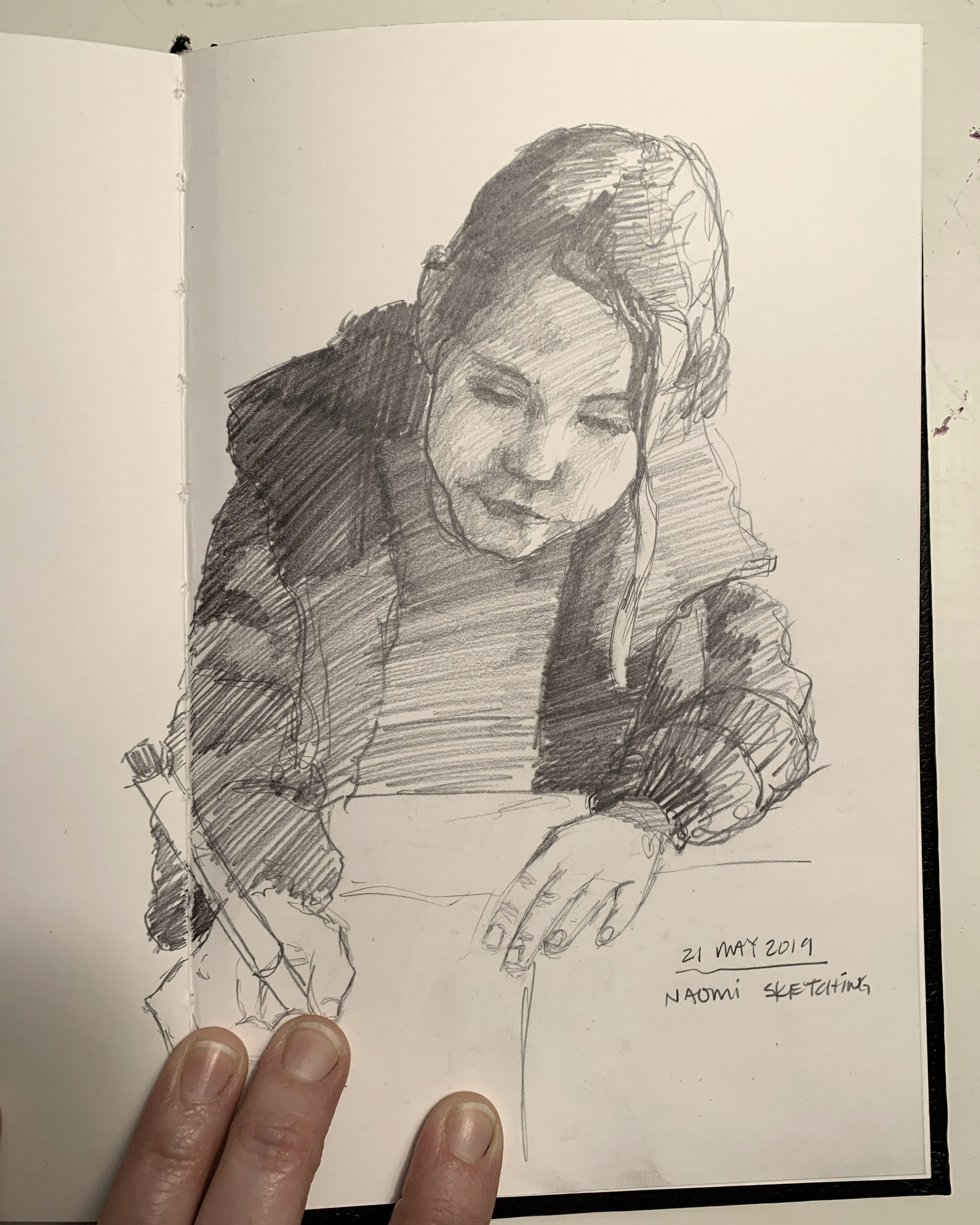 Day 141: Sketch of Naomi drawing