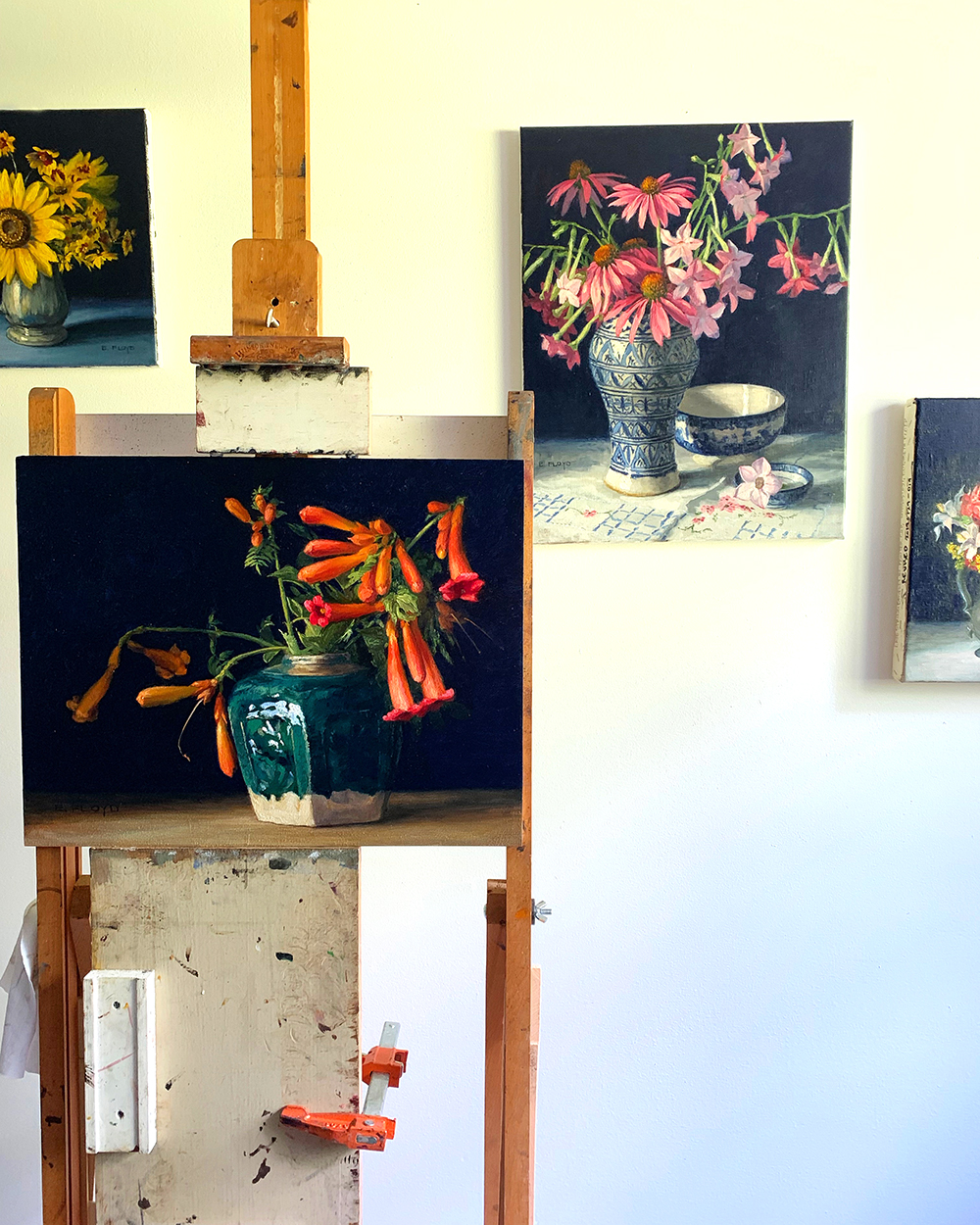 "Work-in-progress scene of my studio in anticipation of the ""From Garden to Vase"" oil painting collection release"