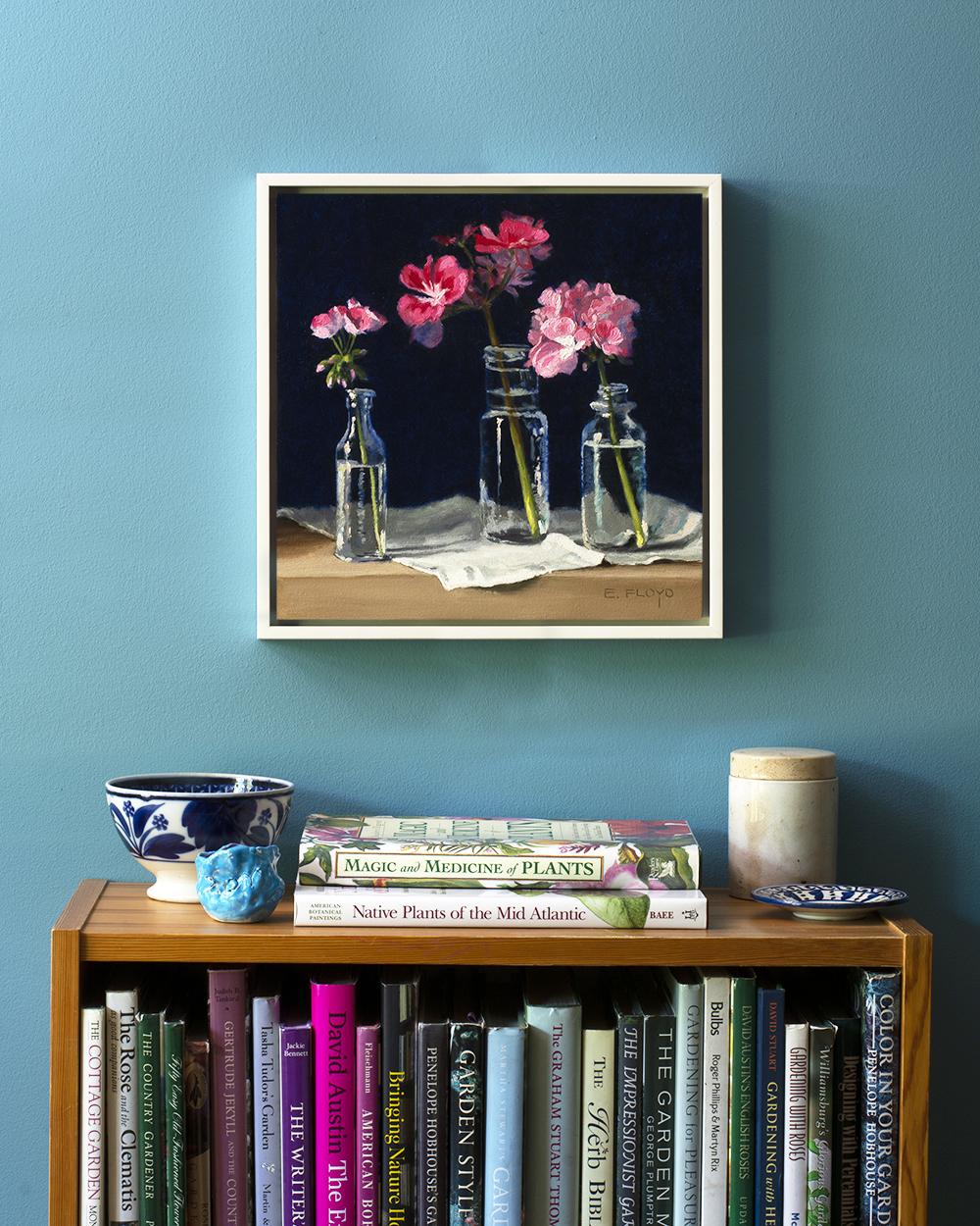 12x12 Floater Frame Blue Wall - geraniums .jpg