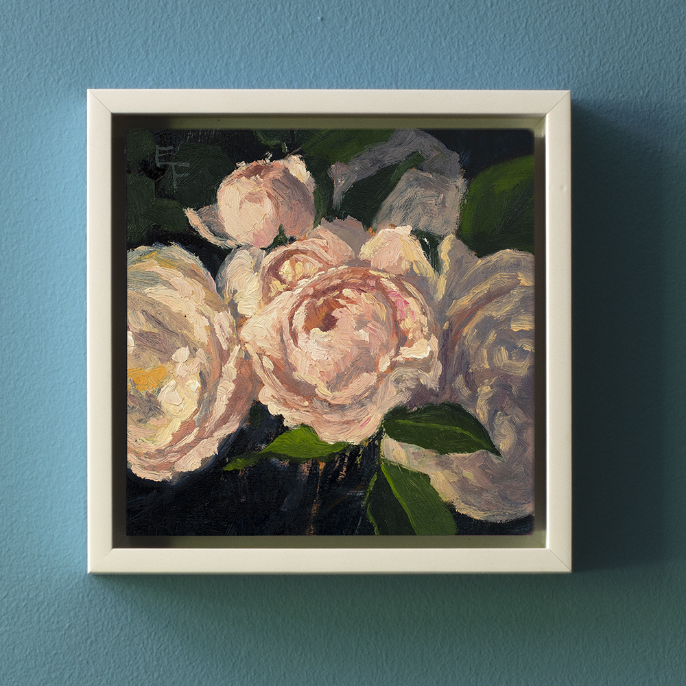 CROCUS ROSES, OIL ON CRADLED PANEL, 6 X 6 INCHES, UNFRAMED OIL PAINTING
