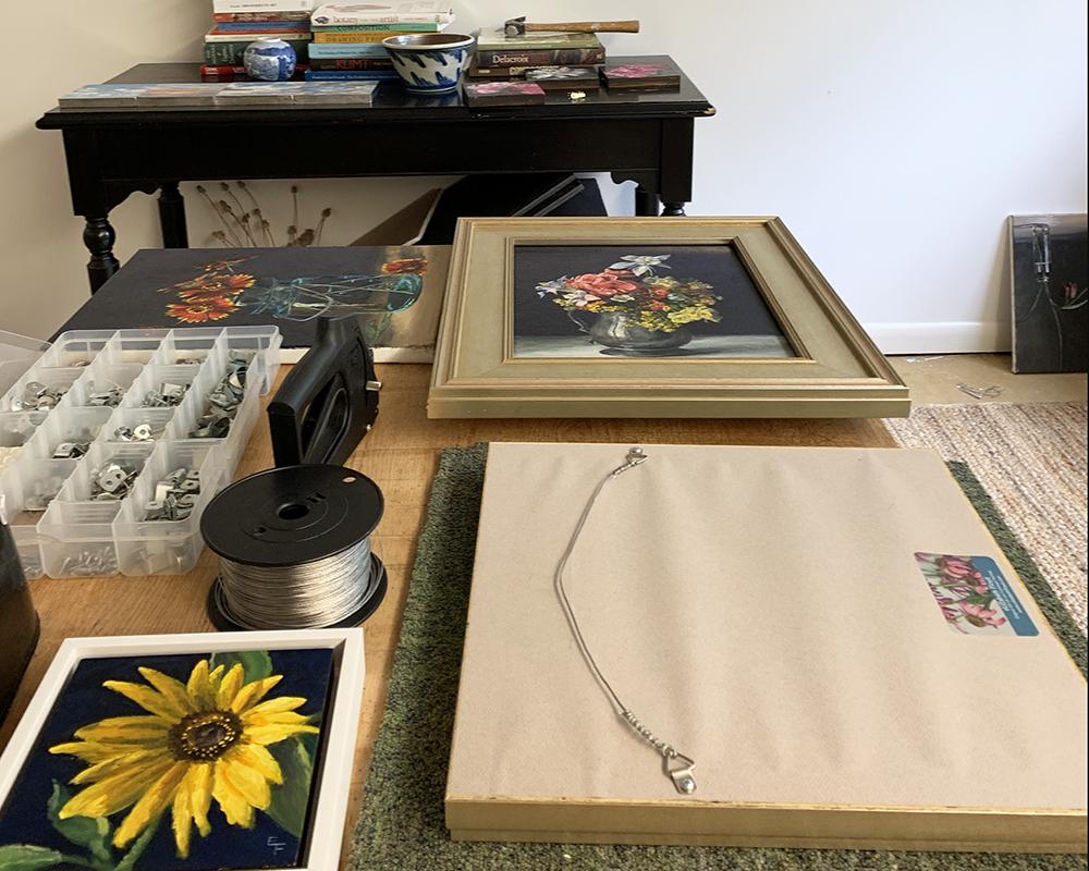 framing work in my studio