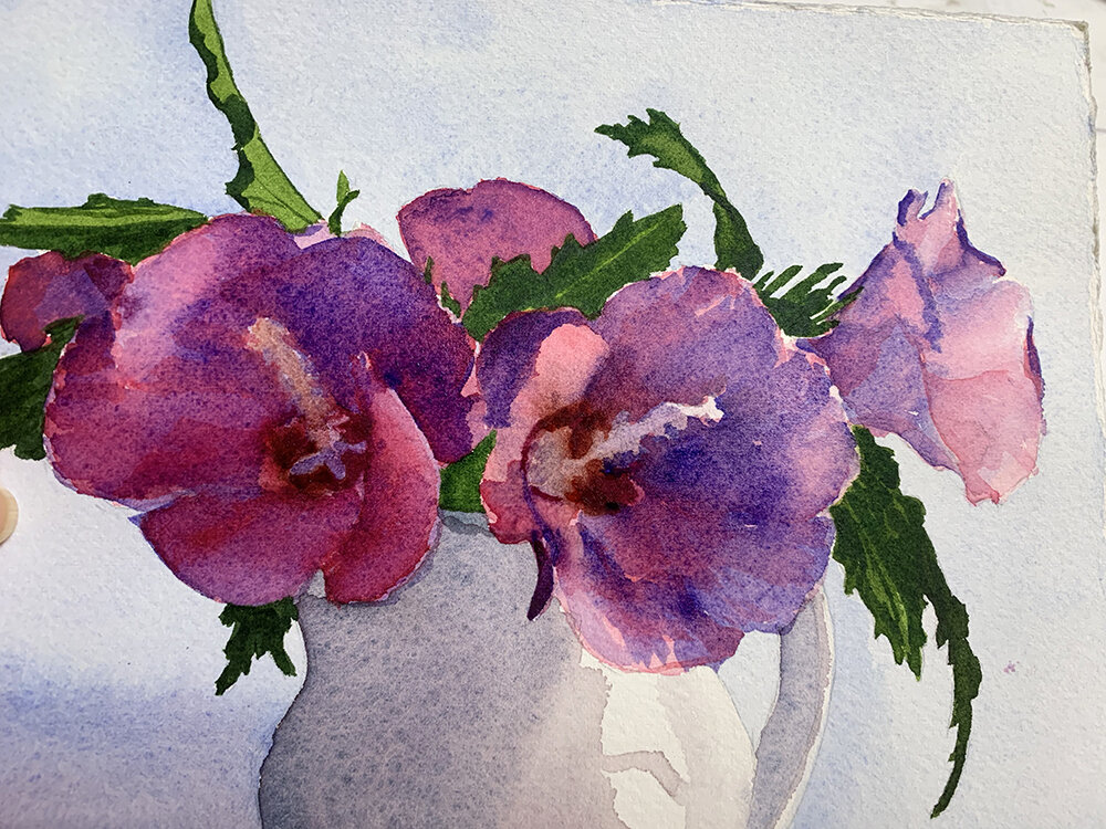 Day 233, August 21, 2019: Watercolor sketch of Rose of Sharon.