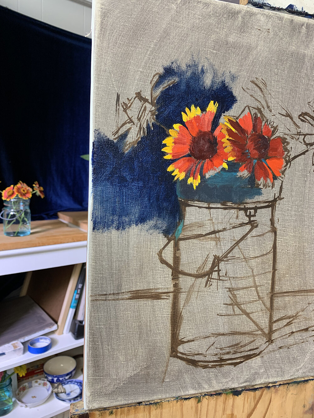 Day 241, August 27, 2019: Began this painting of Indian Blanket Flowers. Love the bright flowers in front of the deep blue background. ( Available )